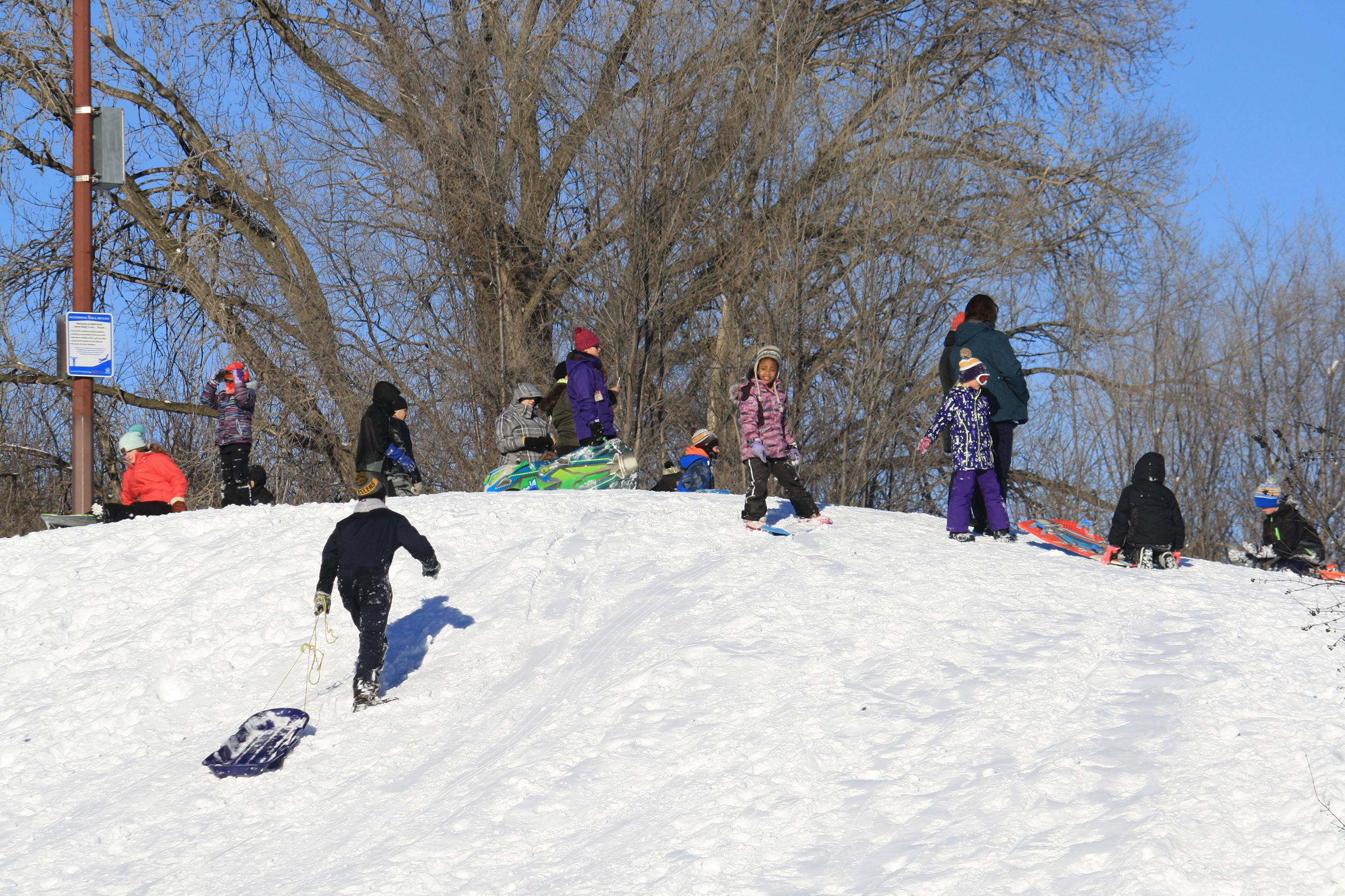 Children and adults stand with sleds on top of a snowy hill