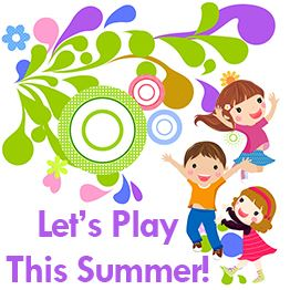 Illustration of three young children jumping and smiling. Text: Let's Play This Summer!