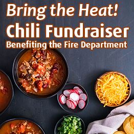 Bowls of chili, a basket of cornbread and fixings. Text: Bring the heat! Chili fundraiser benefiting