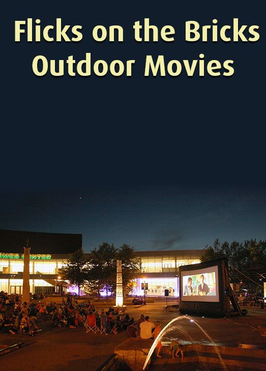 People watch an outdoor movie in Nicollet Commons Park. Text: Flicks on the Bricks Outdoor Movies