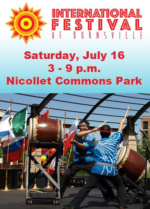 International Festival logo and image of two men performing Japanese drumming. Text: Saturday, July