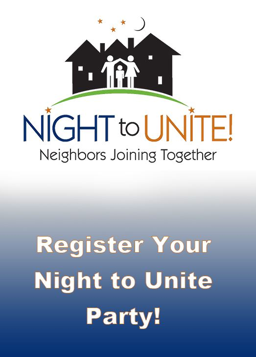 Night to Unite Logo. Text: Register Your Night to Unite Party!