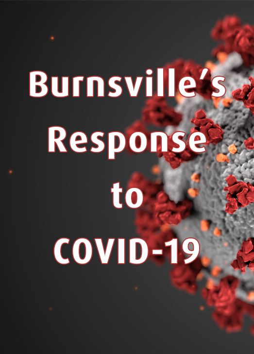 Microscopic image of Coronavirus. Text: Burnsville&#39s response to COVID-19